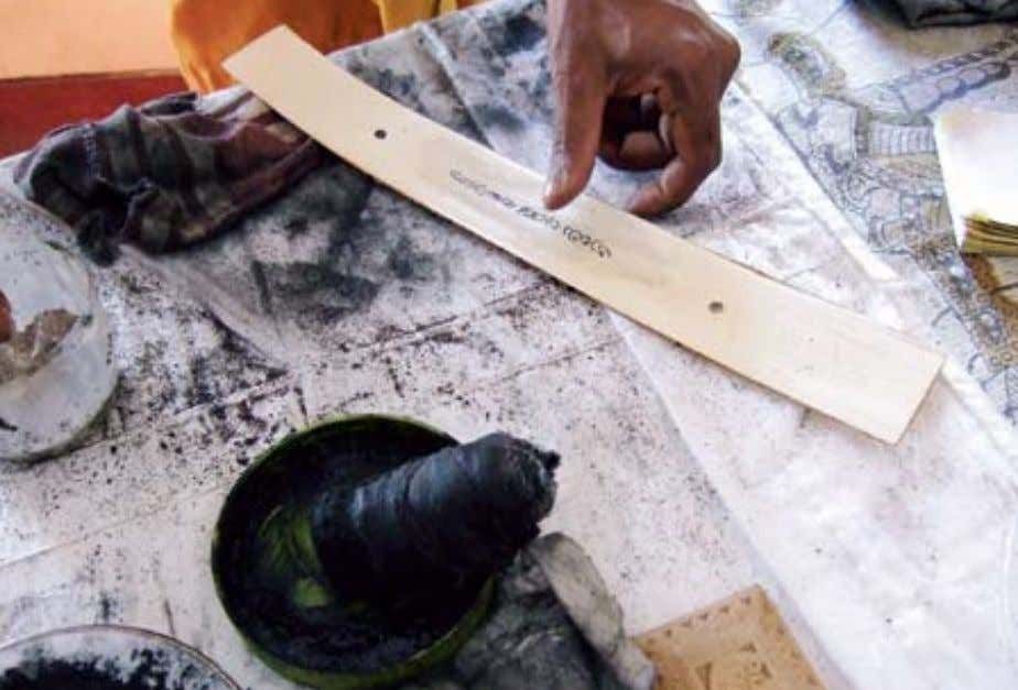 strips of ola leaves being processed for writing an example of writing on an ola leaf