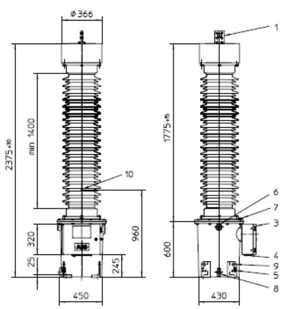 Components of a Substation: Potential Transformers : Device used for measuring the primary voltage of the