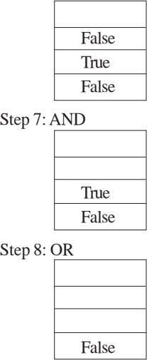False True False Step 7: AND True False Step 8: OR False
