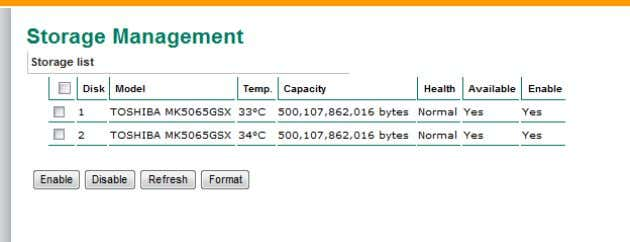 enable, disable, or format the hard disks on this page. NOTE This hard disk information is