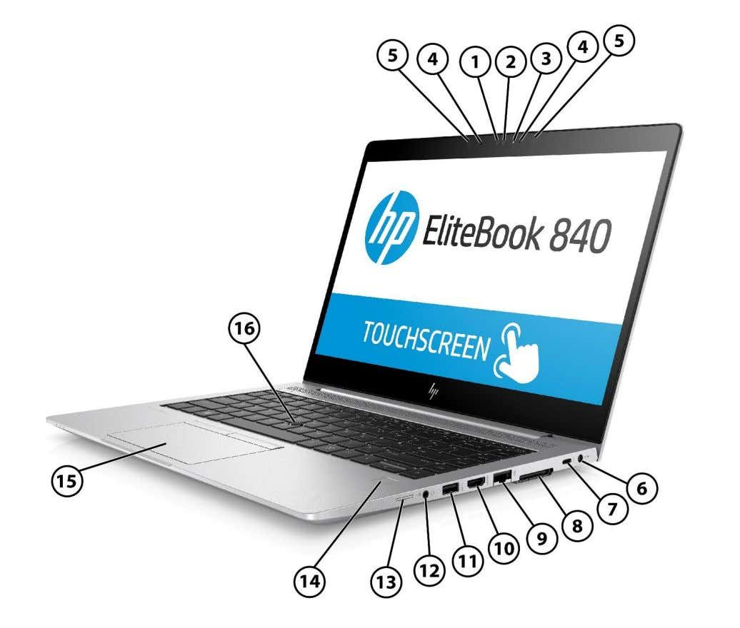 840 G5 Notebook PC Overview HP EliteBook 840 G5 Notebook PC 1. HD Camera (Select models