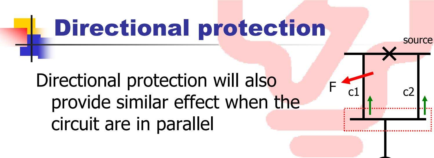 Directional protection source Directional protection will also provide similar effect when the circuit are in