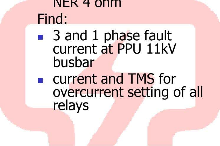 3 and 1 phase fault current at PPU 11kV busbar current and TMS for overcurrent