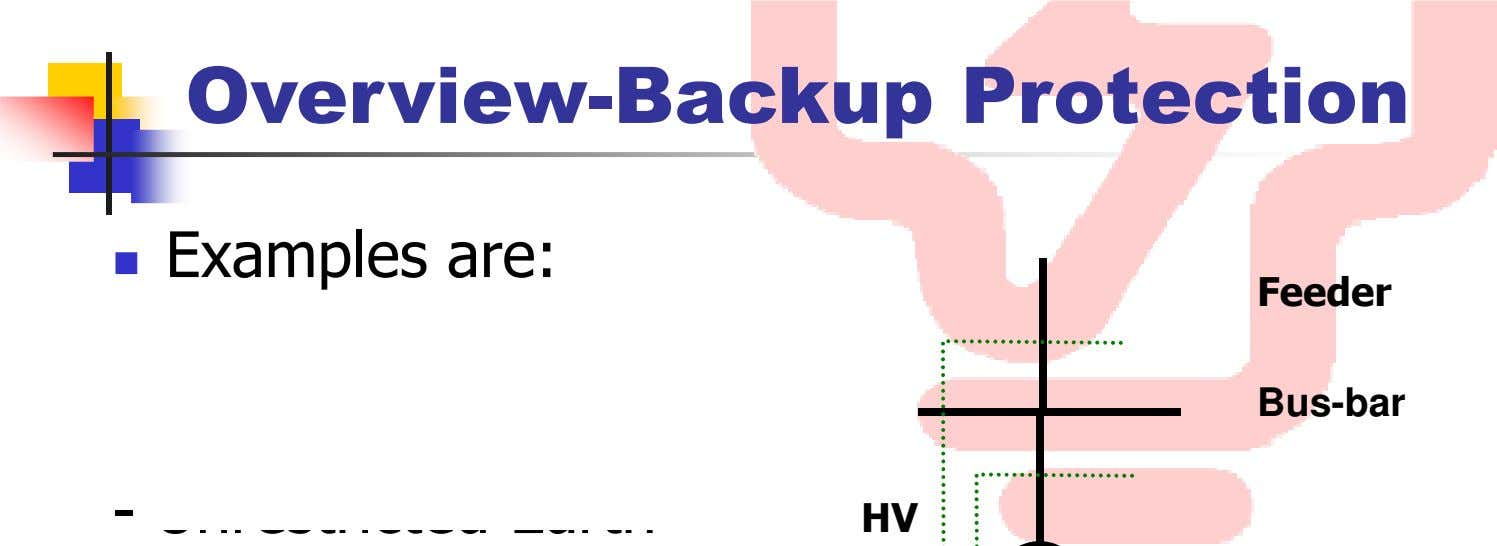 Overview-Backup Protection Examples are: Feeder - Bus-bar - HV