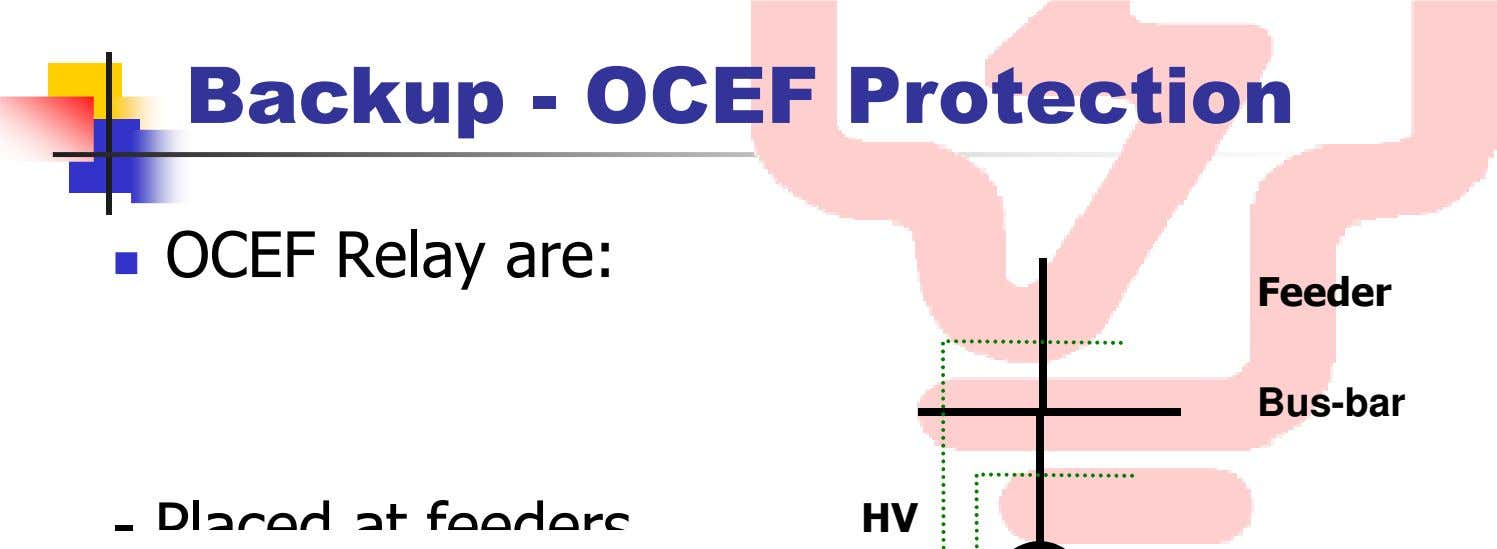 Backup - OCEF Protection OCEF Relay are: Feeder Bus-bar - Pl ace d t f