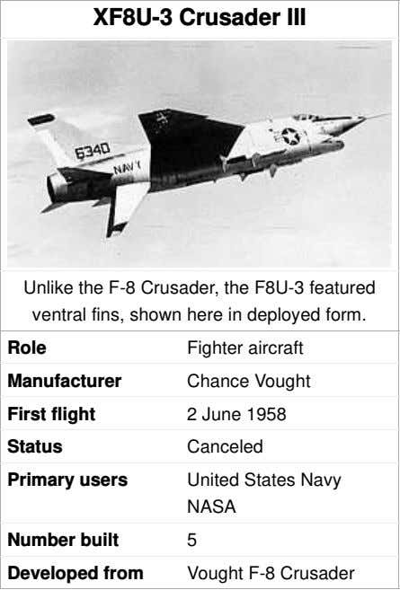XF8U-3 Crusader III Unlike the F-8 Crusader, the F8U-3 featured ventral fins, shown here in