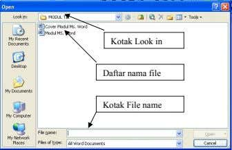 Kotak Look in Daftar nama file Kotak File name