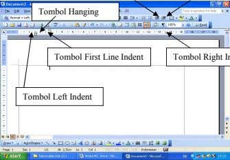 Tombol Hanging Tombol First Line Indent Tombol Left Indent