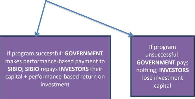 If program successful: GOVERNMENT makes performance-based payment to SIBIO; SIBIO repays INVESTORS their capital +