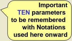 TEN parameters to be remembered with Notations used here onward Important