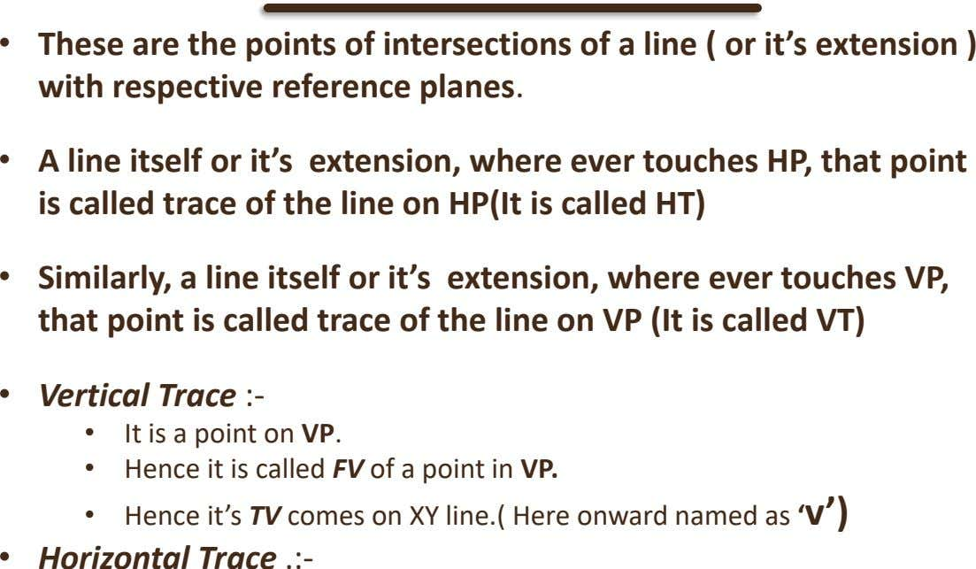 • These are the points of intersections of a line ( or it's extension ) with