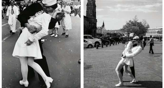 Yvonne Phyllis, Masters in International Relations student Students parody Alfred Eisenstaedt's famous V-J Day kiss