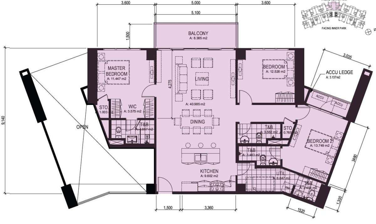 7F 3 Bedroom (  125 sq.m | 1,347 sq.ft) FOR INTERNAL TRAINING PURPOSES ONLY.