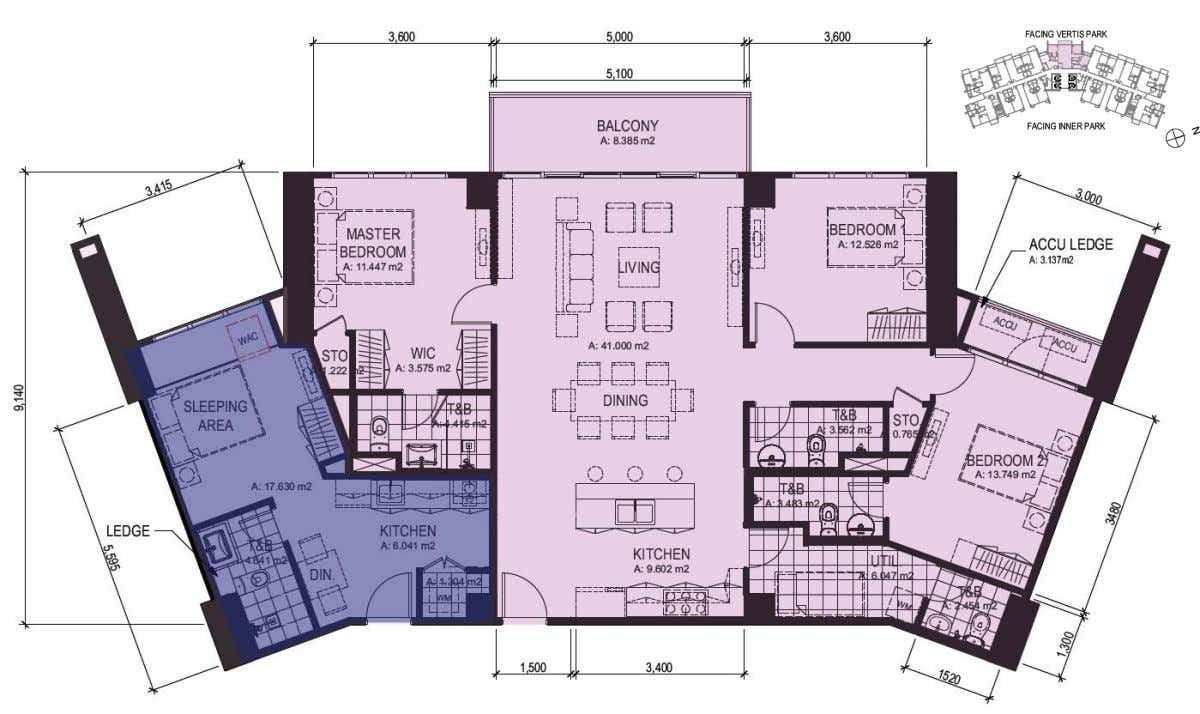 8F 3 Bedroom and Studio (  125 & 30 sq.m | 1,347 & 319 sq.ft