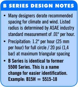 B SERIES DESIGN NOTES • Many designers derate recommended spacing for climate and wind. Listed