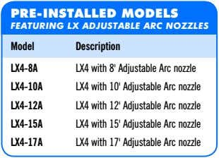 PRE-INSTALLED MODELS FEATURING LX ADJUSTABLE ARC NOZZLES Model Description LX4-8A LX4 with 8' Adjustable Arc
