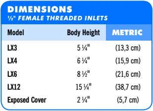 "DIMENSIONS ½"" FEMALE THREADED INLETS Model Body Height METRIC LX3 5 ¼"" (13,3 cm) LX4"