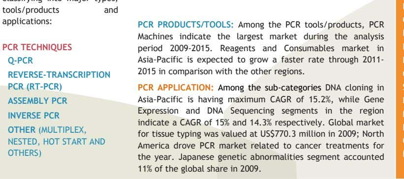 PCR TECHNIQUES Q-PCR PCR PRODUCTS/TOOLS: Among the PCR tools/products, PCR Machines indicate the largest market