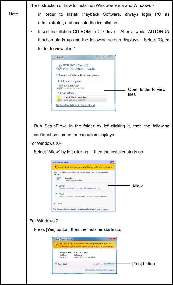 The Instruction of how to install on Windows Vista and Windows 7 Note ・ In