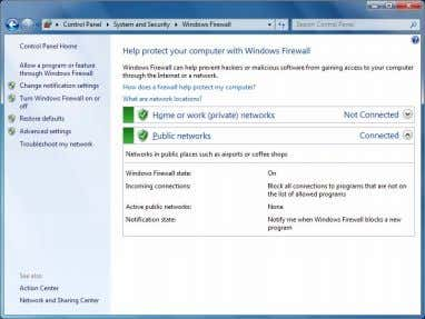 "・ Click "" Turn Windows Firewall on or off"". Control Panel System and Security Windows Firewall"