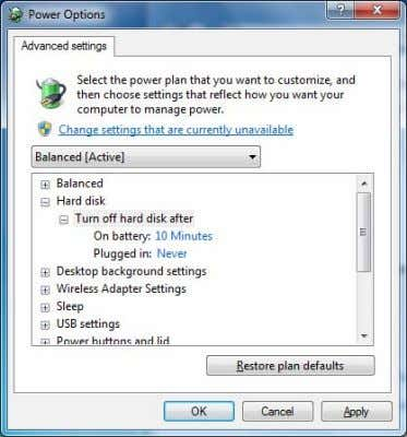 "after"" to ""Plugged in Never"", click [OK] button. Turn off hard dick after Sleep after Hibernate"
