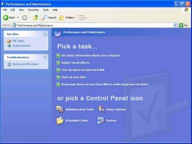 "on the Control Panel screen. ・ Click ""Power Option"". Performance and Maintenance Power Option ・ Select"