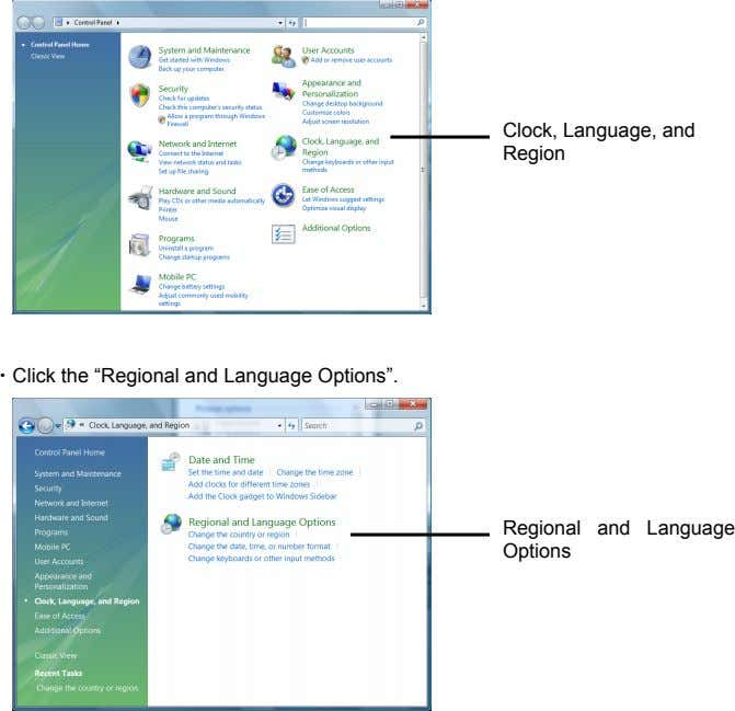 "Clock, Language, and Region ・Click the ""Regional and Language Options"". Regional and Language Options"