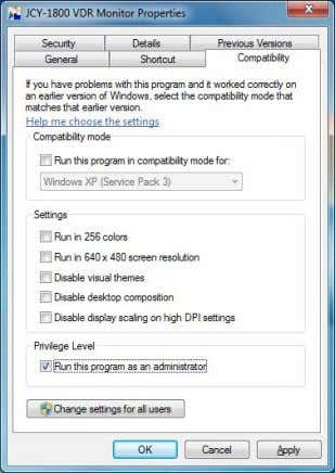 "under ""Privilege Level"", and click [OK] button. Privilege Level The setup for Windows 7 PC is"