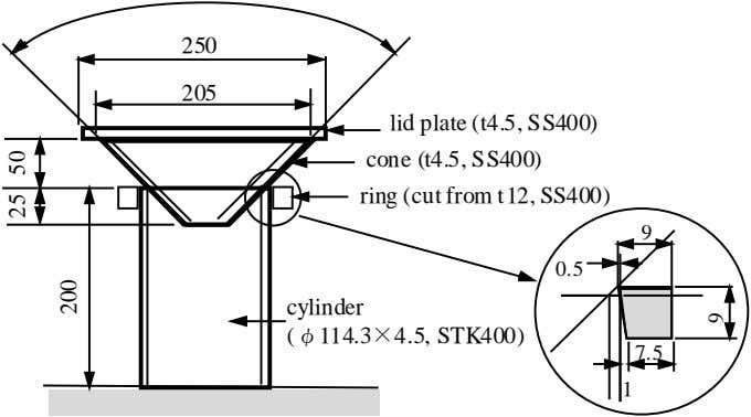 250 205 lid plate (t4.5, SS400) cone (t4.5, SS400) ring (cut from t12, SS400) 9