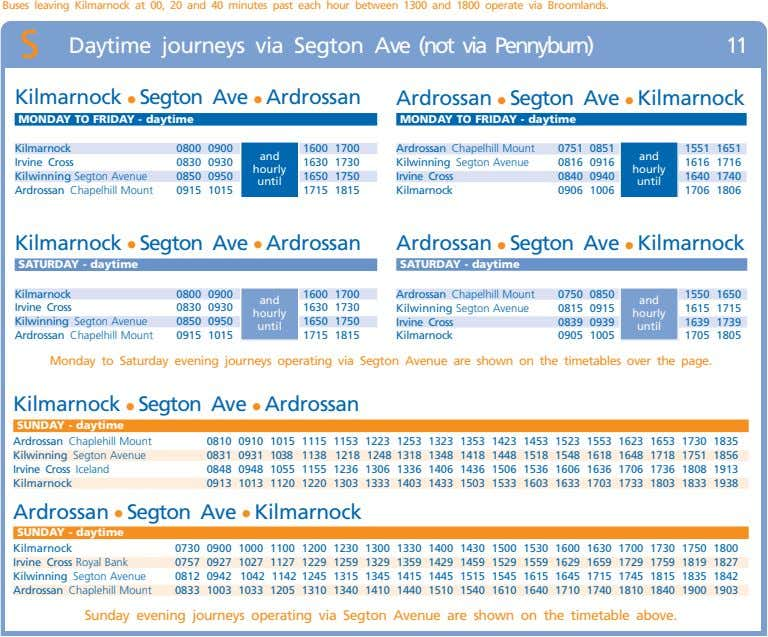 Buses leaving Kilmarnock at 00, 20 and 40 minutes past each hour between 1300 and