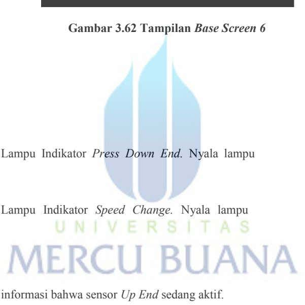 Gambar 3.62 Tampilan Base Screen 6 Lampu Indikator Press Down End. Nyala lampu Lampu Indikator