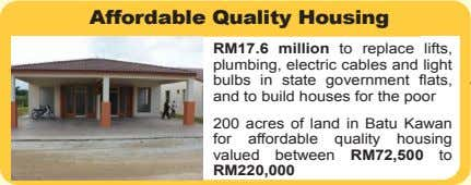 Affordable Quality Housing RM17.6 million to replace lifts, plumbing, electric cables and light bulbs in