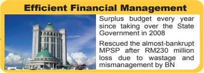 Efficient Financial Management Surplus budget every year since taking over the State Government in 2008