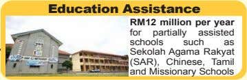 Education Assistance RM12 million per year for partially assisted schools such as Sekolah Agama Rakyat