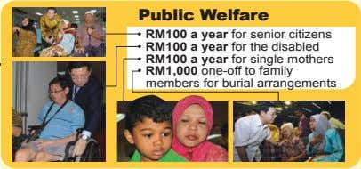 Public Welfare • RM100 a year for senior citizens • RM100 a year for the
