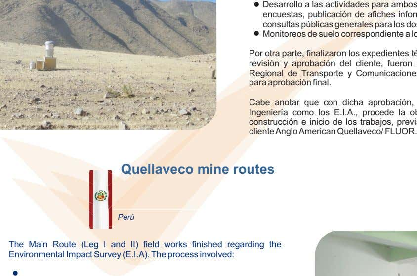 Quellaveco mine routes Perú The Main Route (Leg I and II) field works finished regarding