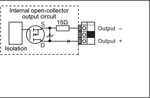 Internal open-collector output circuit 15Ω S Output -- Output + D Isolation