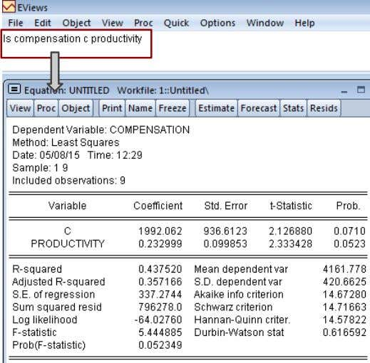 Glejser Test in EViews (cont.) ls compensation c productivity 23