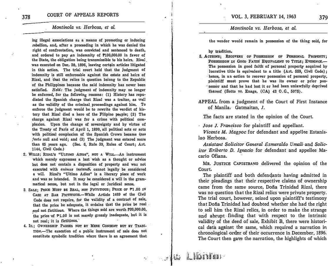 379 COURT OF APPEALS REPORTS VOL. 3, FEBRUARY 14, 1963 378 Montinola vs. Herbosa, et
