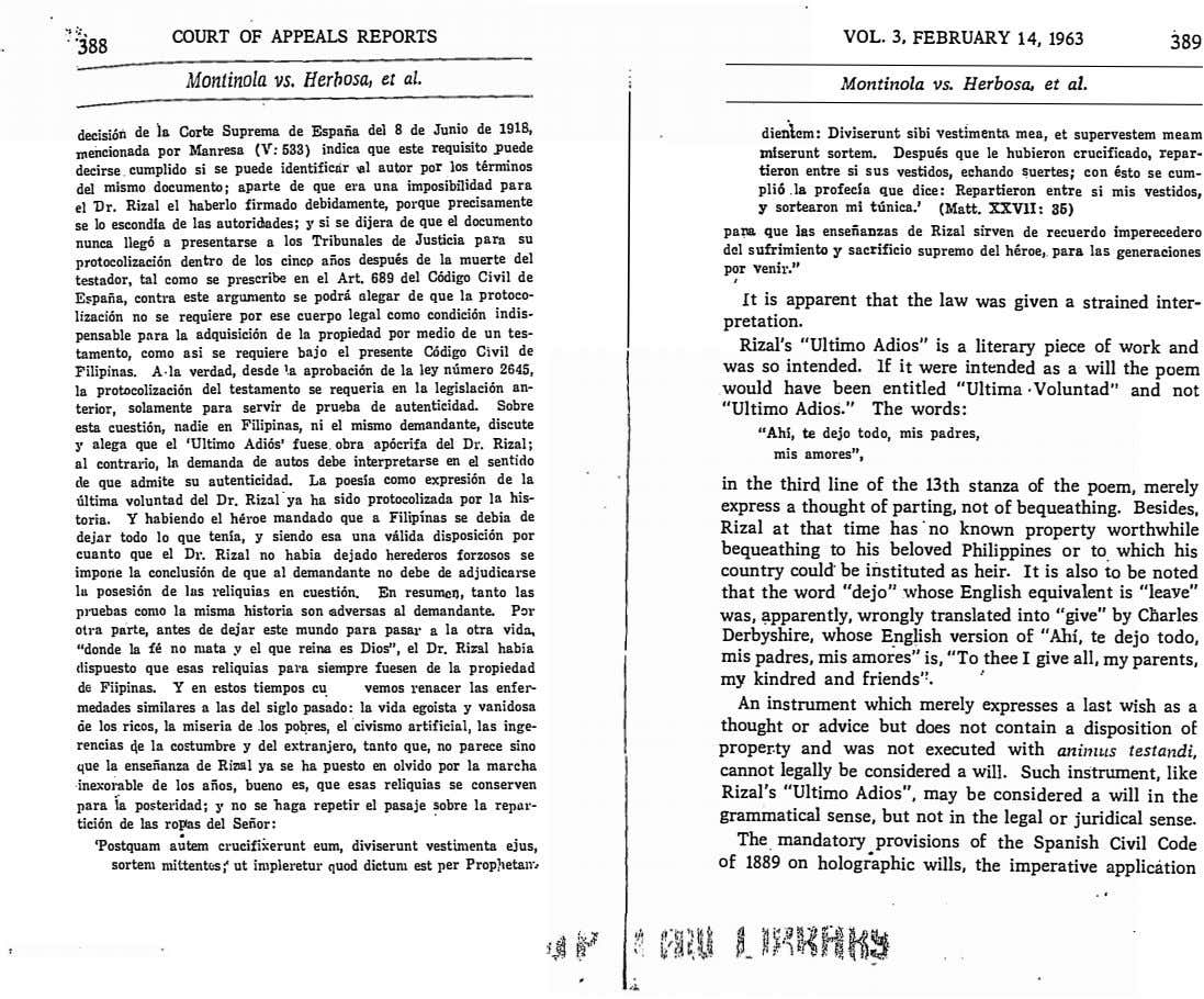 "VOL. 3, FEBRUARY 14, 1963 �� ·"".;' COURT OF APPEALS REPORTS 389 . '388 Montinola"