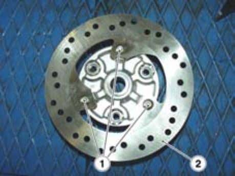 (REMOVING THE REAR WHEEL HUB). • Unscrew and remove the three screws (1). • Remove the
