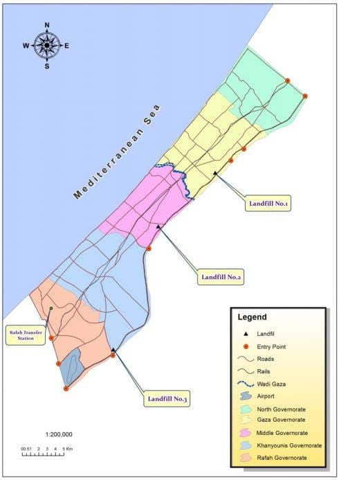 Gaza and Northern Governorates under joint agreement. [5] Map 1: Gaza Strip Map with landfills Locations
