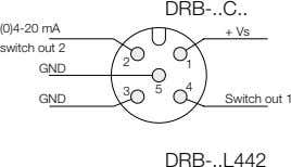 DRB- C (0)4-20 mA switch out 2 + Vs 2 1 GND 4 3 5