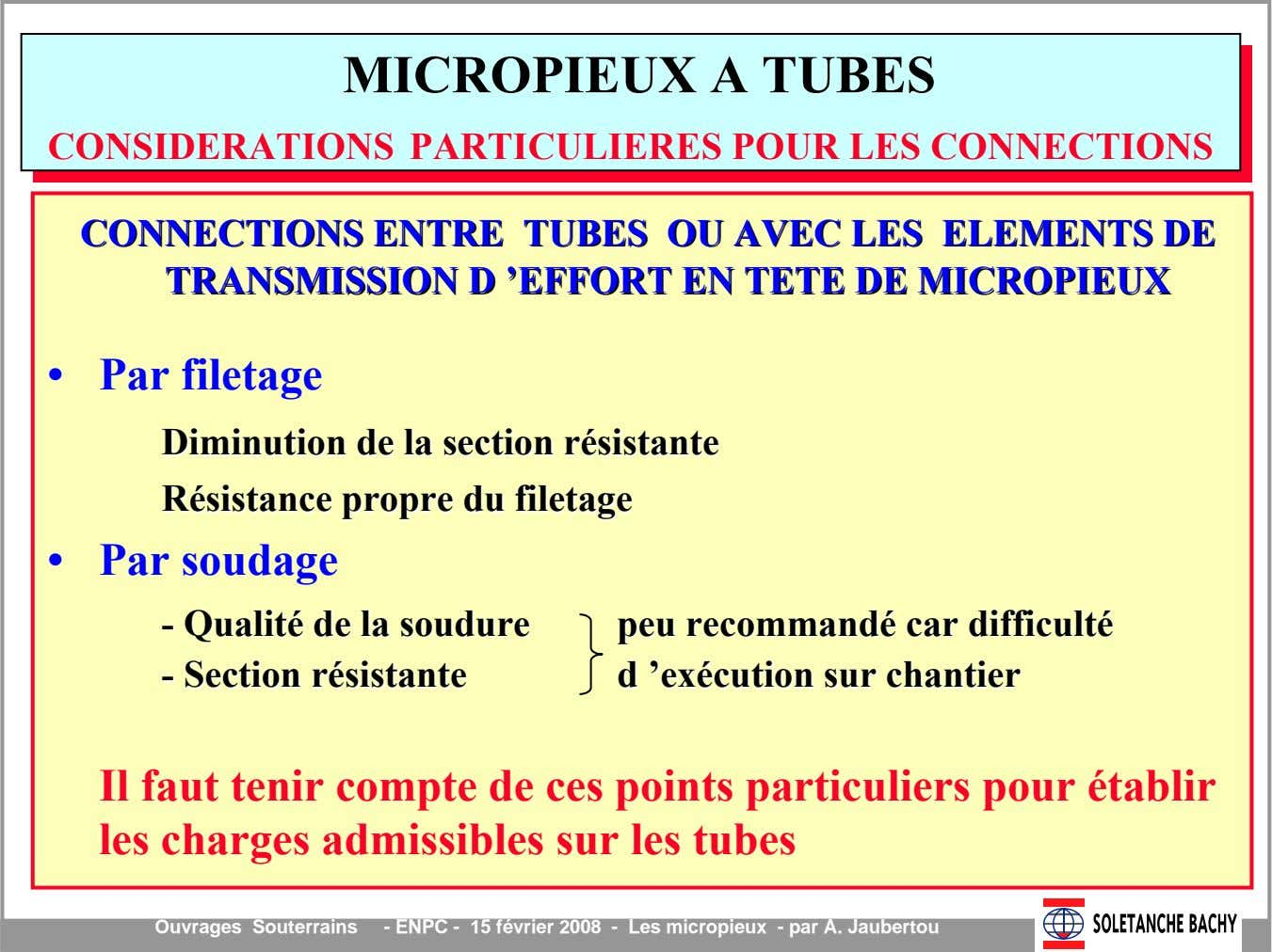 CONNECTIONSCONNECTIONS ENTREENTRE TUBESTUBES OUOU AVECAVEC LESLES ELEMENTSELEMENTS DEDE TRANSMISSIONTRANSMISSION DD