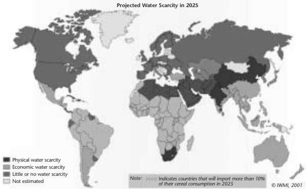 Projected Water Scarcity in 2025 Physical water scarcity Economic water scarcity Little or no water
