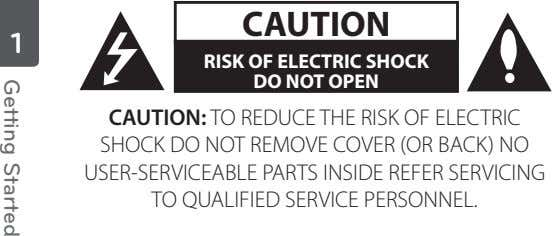 CAUTION 1 RISK OF ELECTRIC SHOCK DO NOT OPEN CAUTION: TO REDUCE THE RISK OF