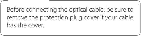 Before connecting the optical cable, be sure to remove the protection plug cover if your