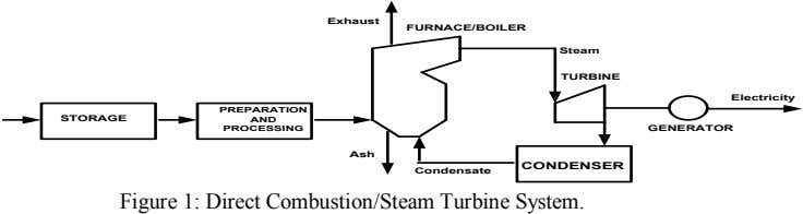 Exhaust FURNACE/BO ILER Steam TURBINE Electricity PREPARATIO N STO RAG E AND PRO CESSING G