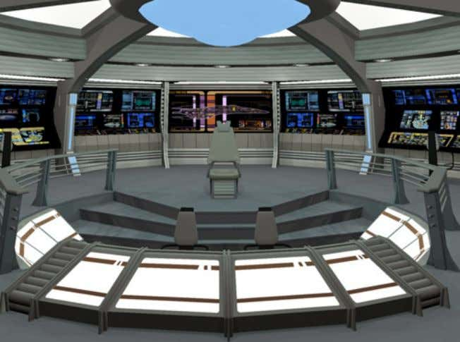 figures show some of the spaces aboard the Prometheus Class Vessel Standard Main Bridge of the