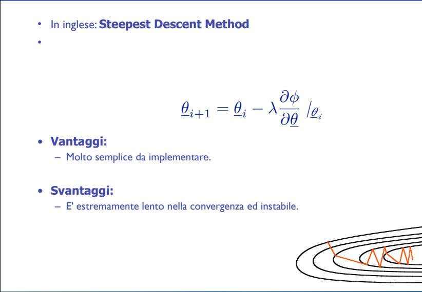 • In inglese: Steepest Descent Method • θ i +1 = θ i − λ
